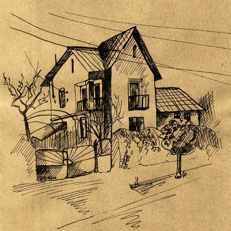 Tinta retro do ofício do esboço velho da casa ilustração royalty free