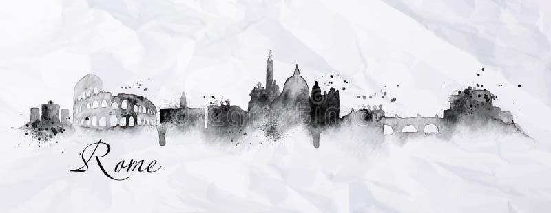 Tinta Roma da silhueta ilustração do vetor