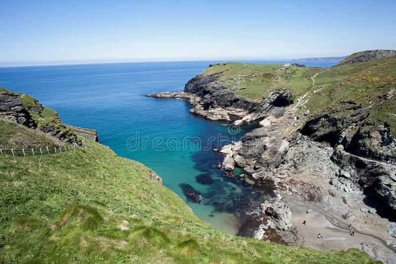 Tintagel Castle set high on Cornwall,s Rugged North Coast. Tintagel Castle set high on Cornwall rugged north coast, Immerse yourself in history, myths and royalty free stock images