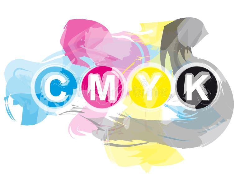 Tintas de impresora de CMYK stock de ilustración