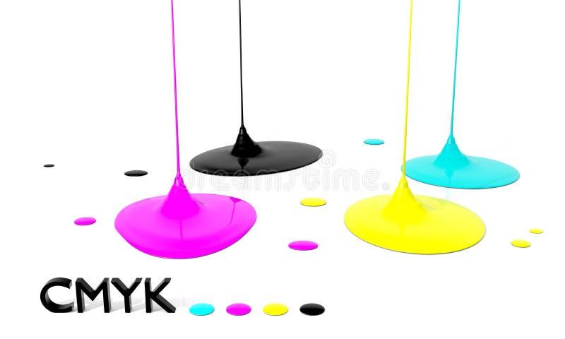 Tintas del líquido de CMYK ilustración del vector