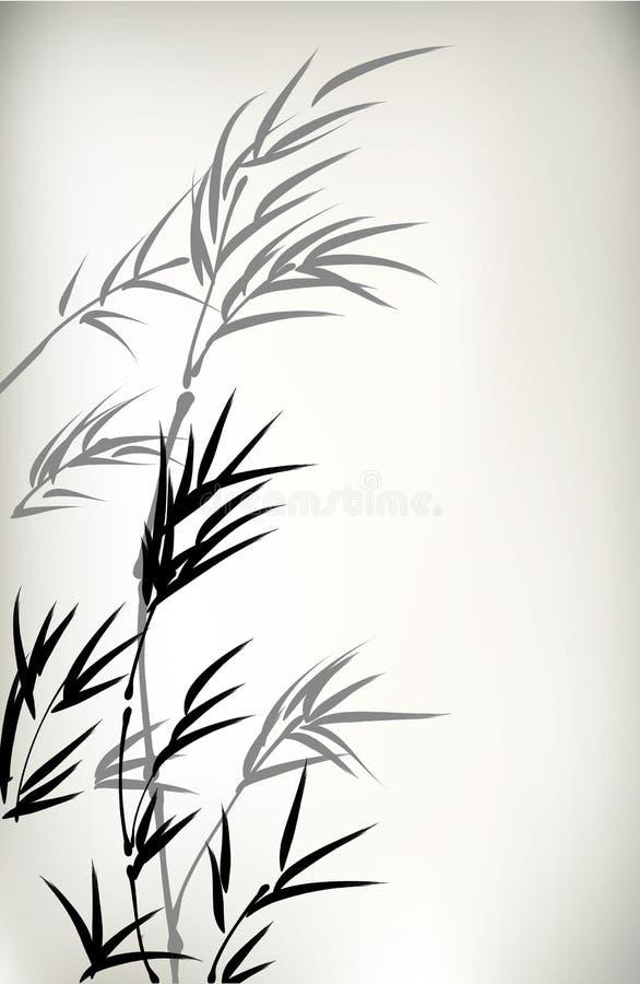 Tinte Bambus gemalt stock abbildung