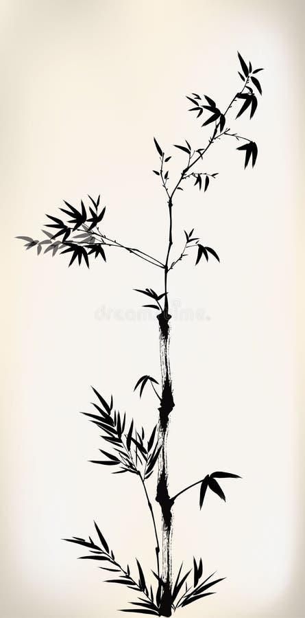Tinte Bambus gemalt lizenzfreie abbildung