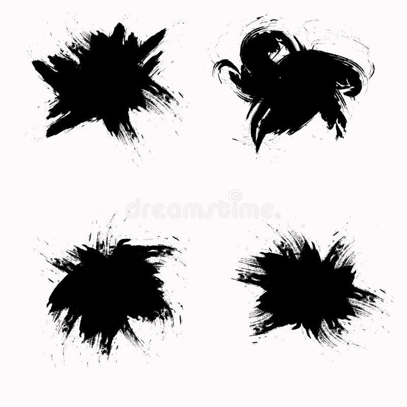 Tinte befleckt auf weißem Hintergrund Vektoranschl?ge Spritzensatz stock abbildung