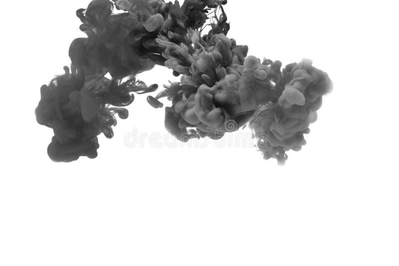 Tinte im Wasser entziehen Sie Hintergrund Tinte, die in Wasser wirbelt Tinte im Wasser lokalisiert auf wei?em Hintergrund Bunte T lizenzfreie abbildung