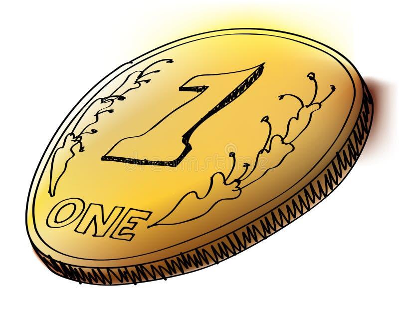 Tinte und Aquarell redeten Münze an lizenzfreie abbildung