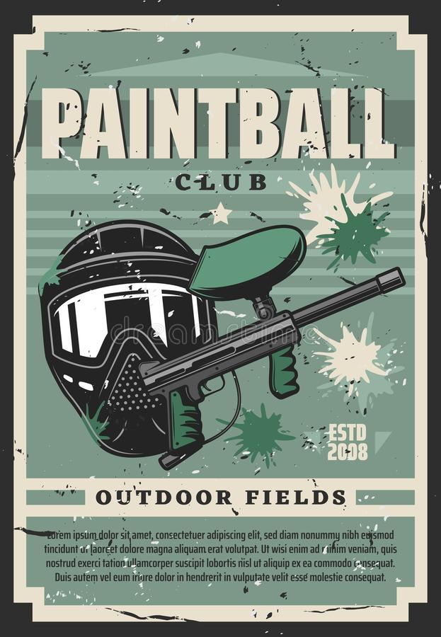 Tinted mask and paint ball gun, paintball club stock illustration