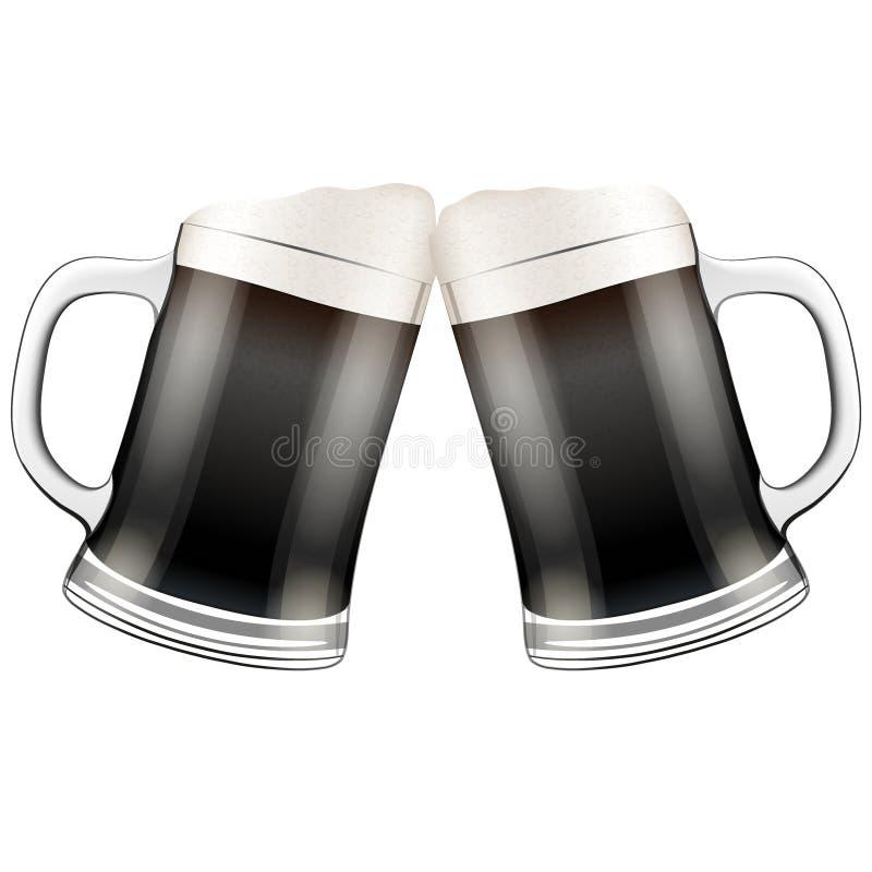 Tintement de deux tasses de bière foncée Illustration de vecteur illustration stock