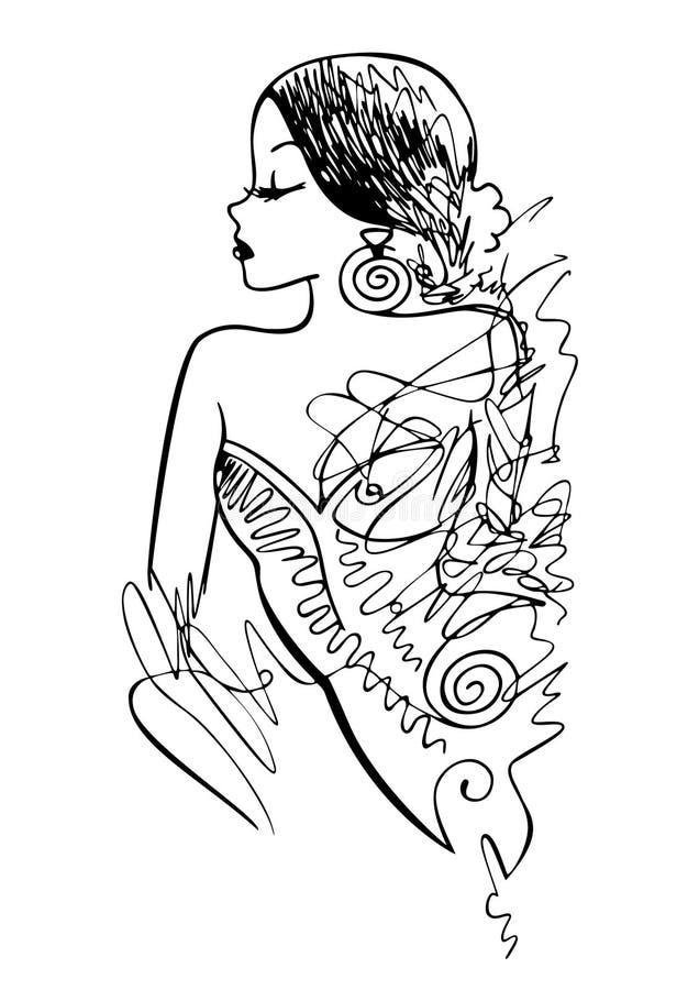 Tinten-Abbildung des Art- und Weisemädchens stock abbildung