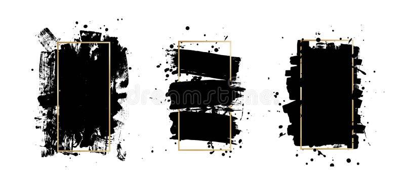Tinten-Bürstenanschläge des Vektors künstlerische Schmutz-Farben-Beschaffenheit Abstarct-Stempelhintergrund Feld für Text vektor abbildung