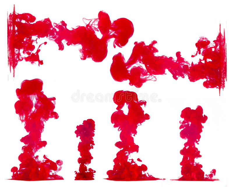 Tinten im Wasser lokalisiert auf Weiß lizenzfreie stockfotos