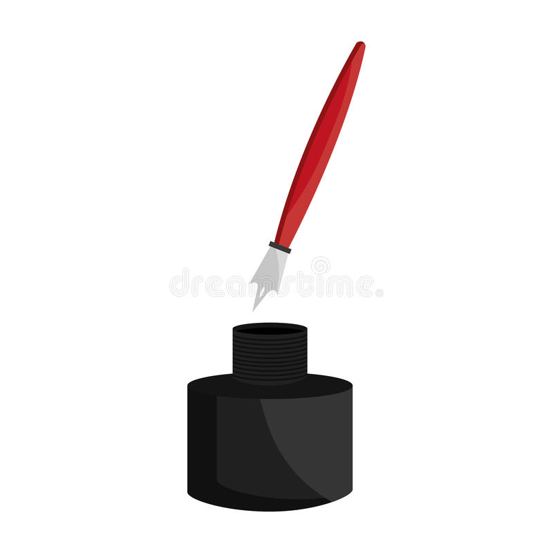 Tintenfass- und Stiftikone lizenzfreie abbildung