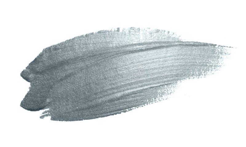 Tintenklecksabstrich des silbernen Pinselfleck- oder -fleckanschlags und des abstrakten Malerpinsels funkelnder mit Funkelnbescha lizenzfreie stockfotografie