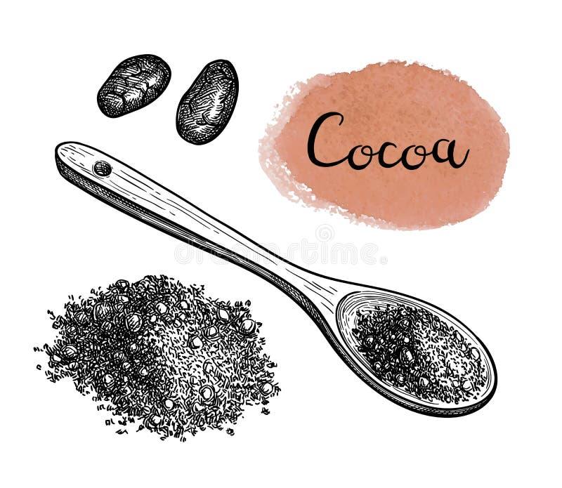 Tintenskizze des Kakaopulvers vektor abbildung