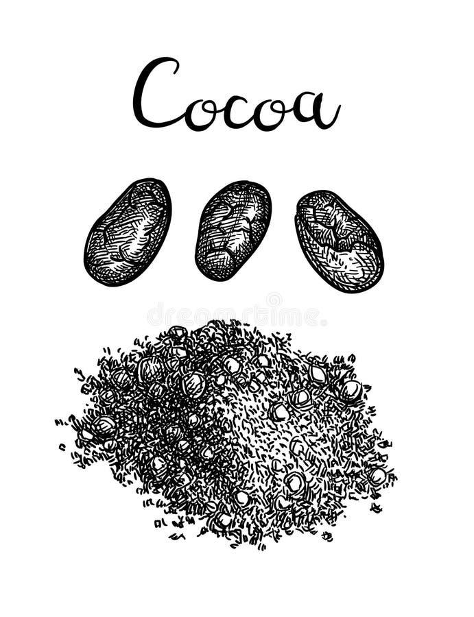 Tintenskizze des Kakaopulvers stock abbildung