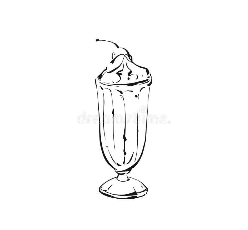 Tintenskizzen-Illustrationszeichnung Handder gezogenen Vektorzusammenfassung künstlerische kochende des Milchshakecocktails und - lizenzfreie abbildung