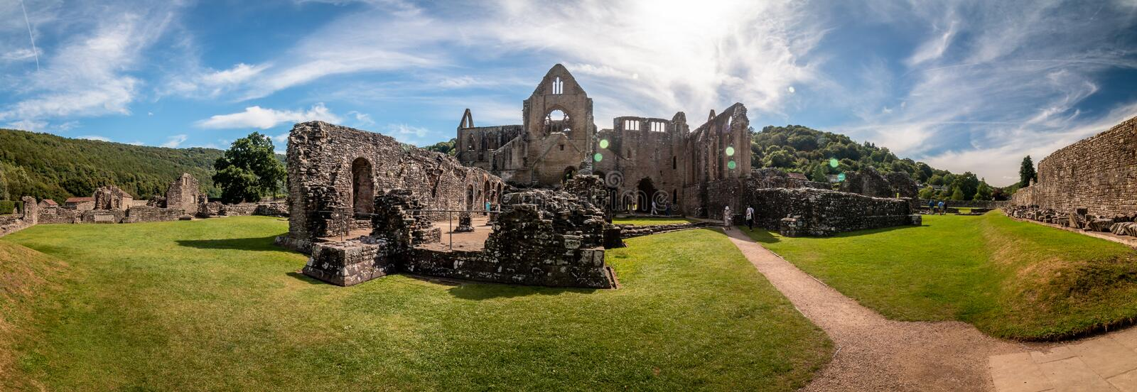 Tintern Abbey, Wales wide-angle and photomerge. In uk royalty free stock photography