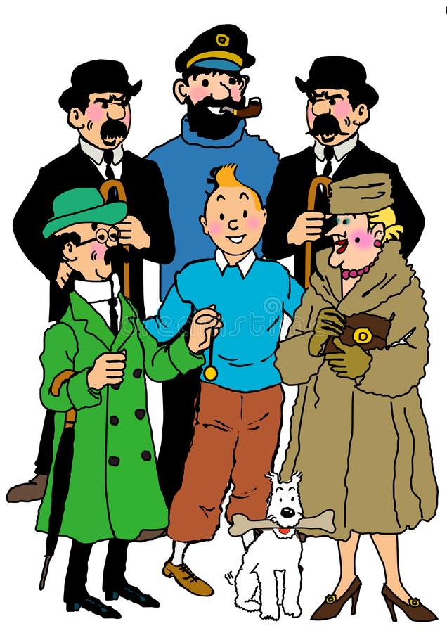 Tintin cartoon. Complete character of Tintin vintage comic book isolated
