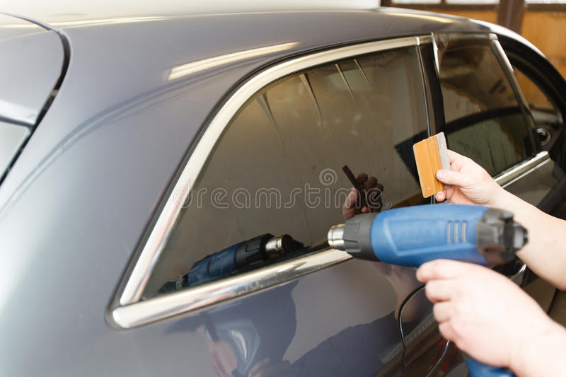 Tinting of glass in car stock photo