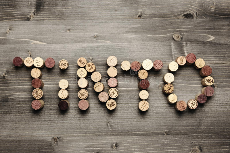 Download TINTO written with corks stock image. Image of written - 32507045