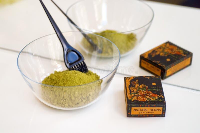 Tintura per capelli organica del hennè immagini stock