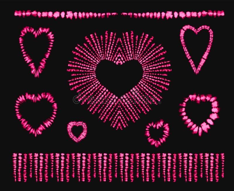 Tintura rossa del legame del cuore Rosa rossa Art Brushes illustrazione di stock