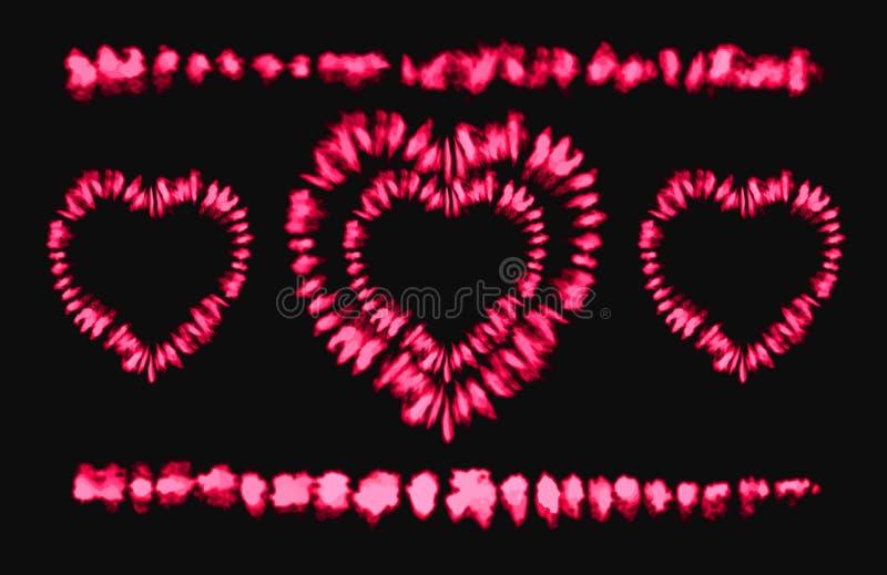 Tintura rossa del legame del cuore Rosa rossa Art Brushes Stampa nello stile di Shibori Ornamento del nastro, nastro, confine illustrazione di stock