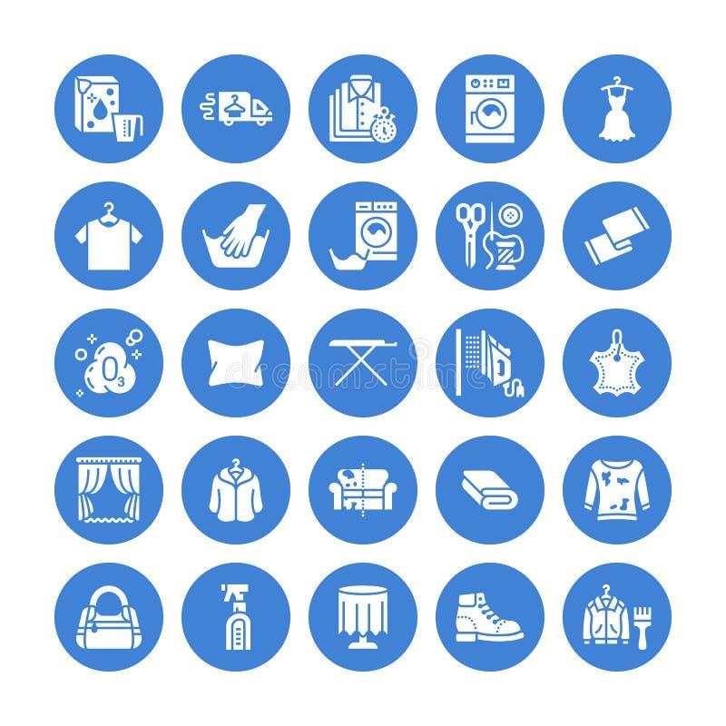 Tinturaria, ícones lisos do glyph da lavanderia O equipamento do serviço da lavagem automática, máquina da arruela, brilho da sap ilustração stock