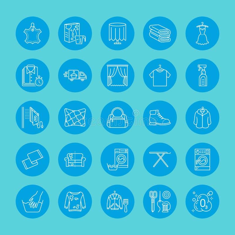 Tinturaria, linha ícones da lavanderia Equipamento do serviço da lavagem automática, máquina de lavar, sapata da roupa e reparo d ilustração do vetor