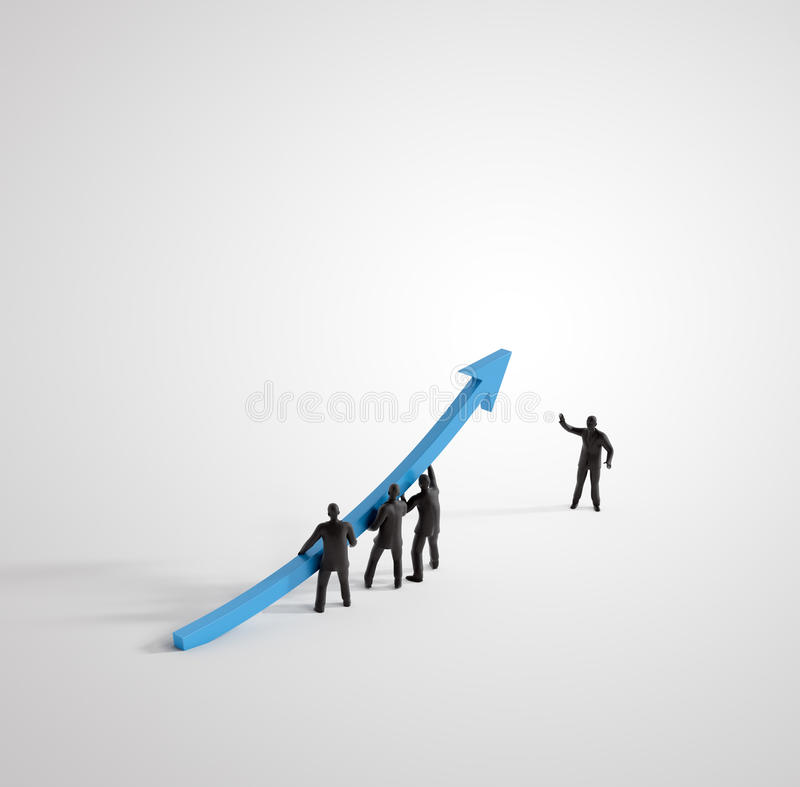 Tiny 3D people raising a graph royalty free illustration