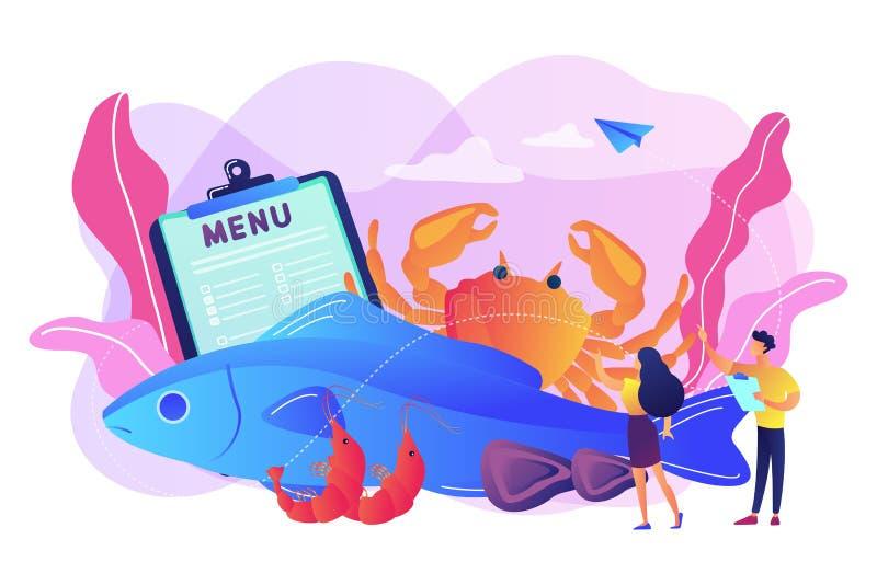 Seafood menu concept vector illustration. vector illustration