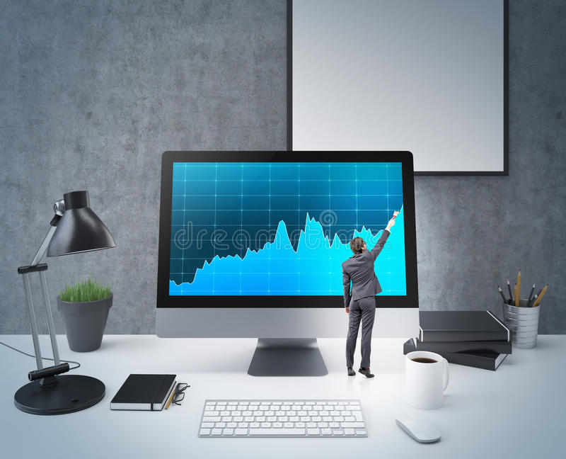 Tiny businessman business chart stock photos