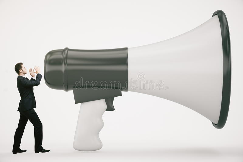 Tiny businessman with loudspeaker. Tiny businessman screaming into huge loudspeaker on light background. Communication concept. 3D Rendering royalty free stock photography