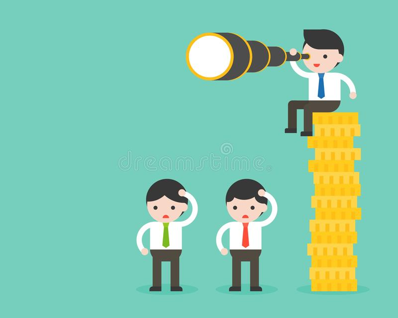 Tiny businessman sitting on stack of gold coins, holding binocular, another businessman standing on floor, advantage of richer ab. Out vision, flat design stock illustration