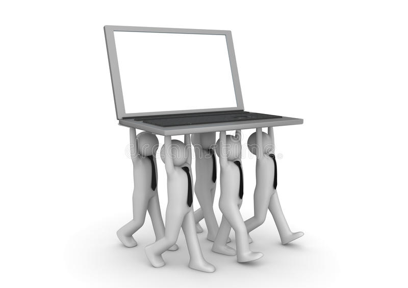 Download Tiny Businessmen Carrying Laptop - Crowds Stock Illustration - Image: 15833643