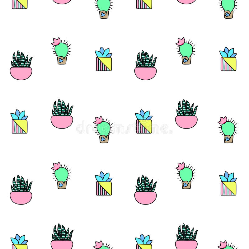 Tiny cactus and succulent seamless pattern. Green plants pattern tile. Cacti flowerpot pattern for textile or wrapping paper. Trendy hipster cactus doodle stock illustration
