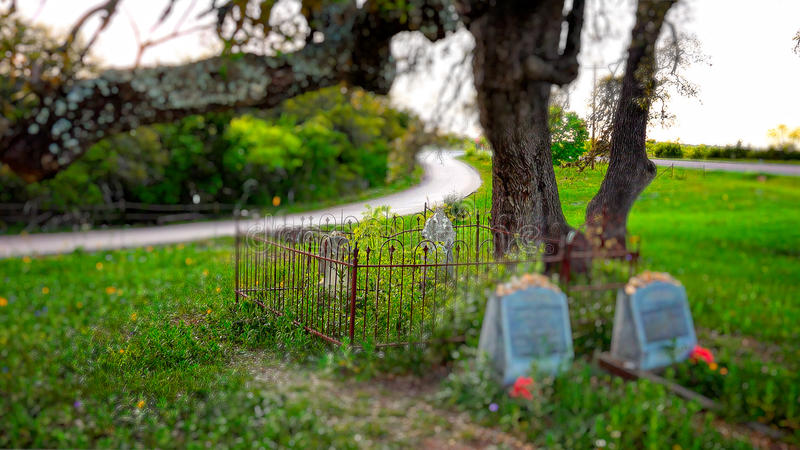 Tiny Cemetery Sits Under Oak Tree in Texas royalty free stock images