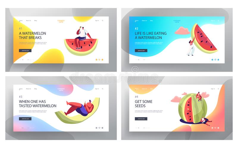 Tiny Characters with Huge Watermelon Website Landing Page Set, Friends Company Summertime Leisure, Beach Party, Summer Vacation stock illustration
