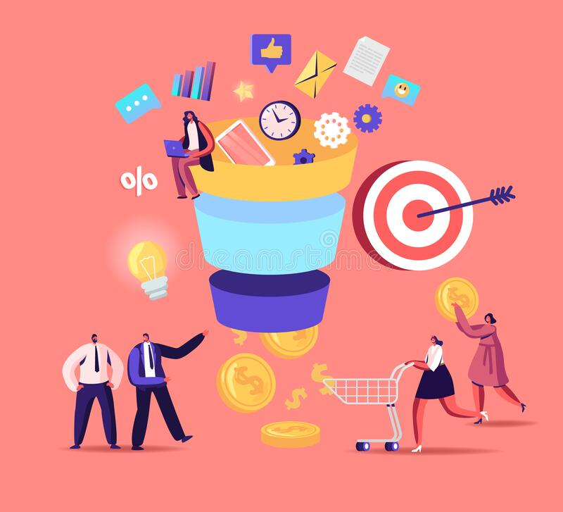 Free Tiny Characters Put Money Into Huge Sales Funnel. Digital Marketing Lead Generations Strategy With Buyers Stock Images - 182436824