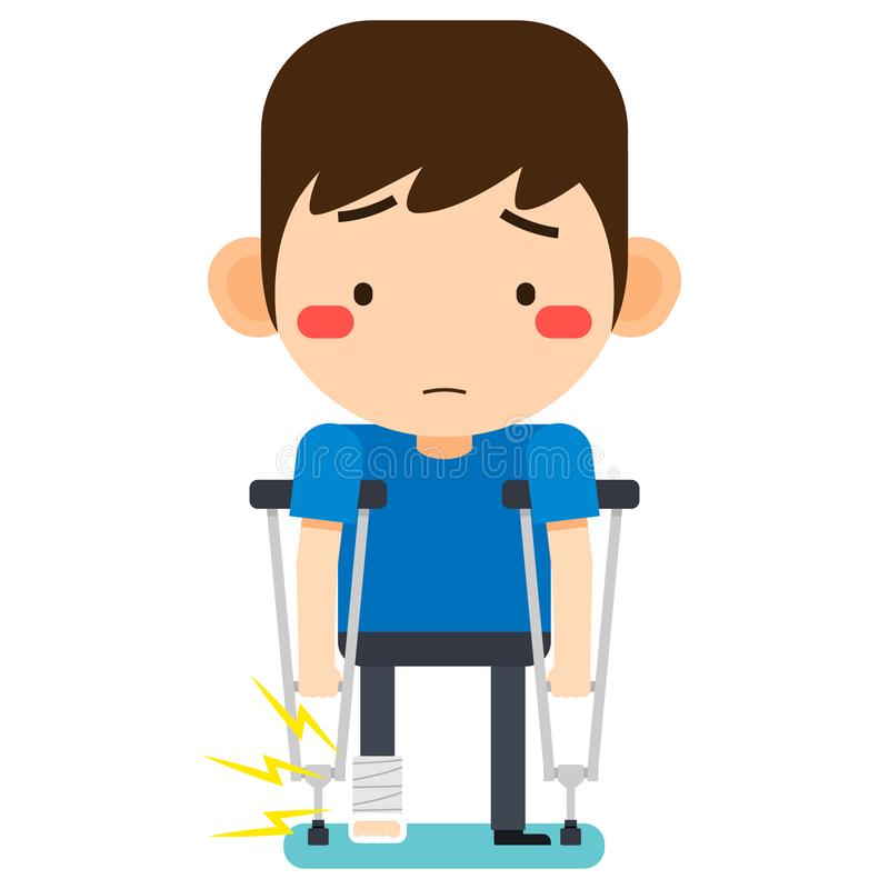 Tiny cute cartoon patient man character broken right leg in gypsum bandage or plastered leg standing with axillary crutch vector illustration