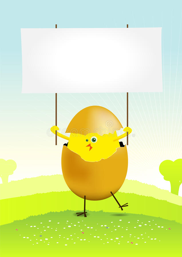 Tiny Easter Chicken in a spring landscape royalty free stock image