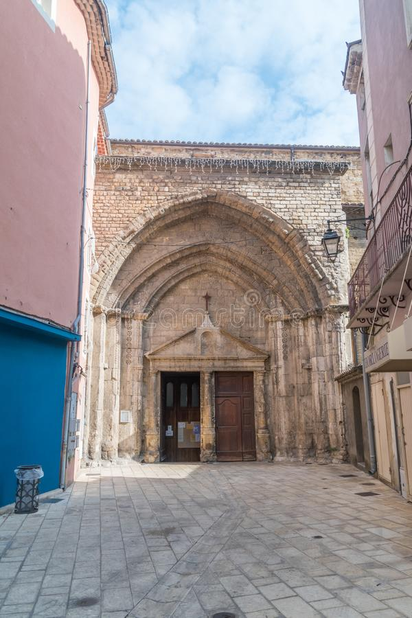 The tiny entrance of Our Lady of Nazareth Cathedral stock photo