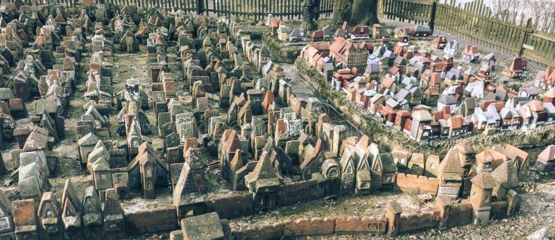 Tiny Fairy Clay Medieval Houses royalty free stock photography