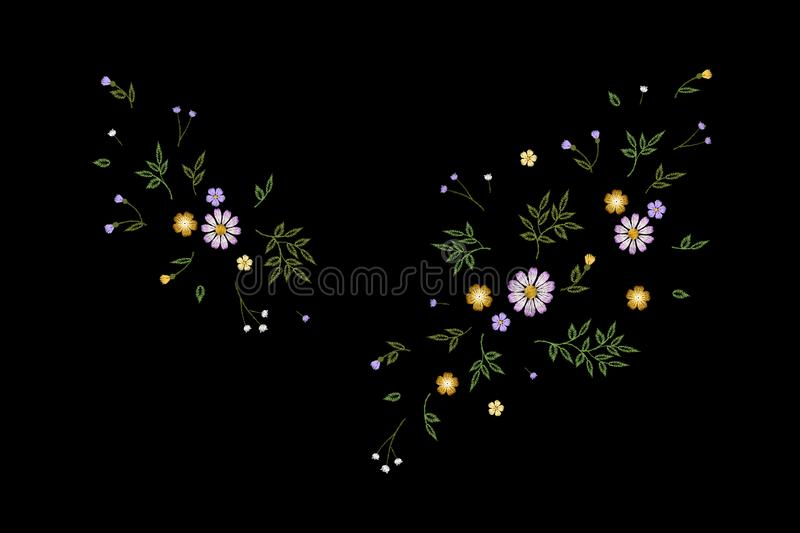 Tiny field flower realistic embroidery. Wild herbs daisy textile print decoration black fashion traditional vector stock illustration