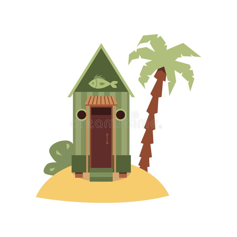 Free Tiny Green Beach Hut With Fish Sign On Small Sand Island With Palm Tree. Stock Images - 162695754