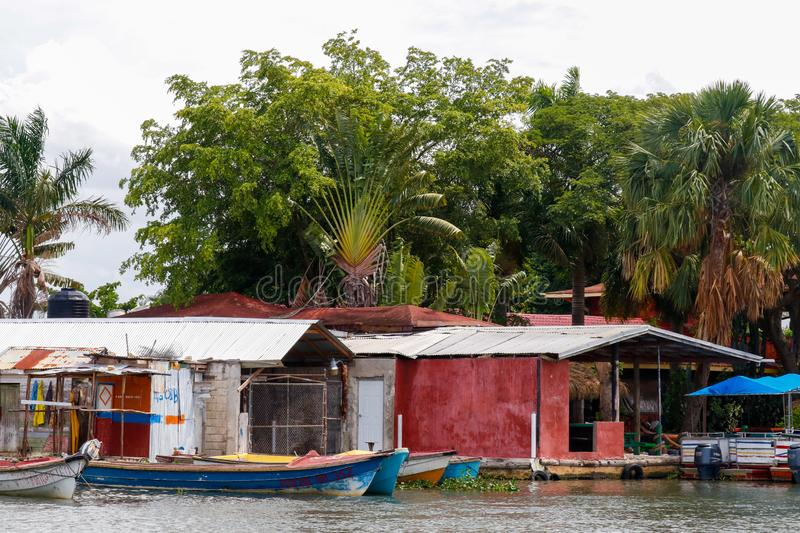 Tiny harbour in Black river, Jamaica stock photos