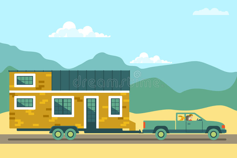 Tiny house movement. Owners of small house move to a new city. Tiny house movement. Owners of tiny house move to a new city. Couple with dog enjoy a life on the stock illustration