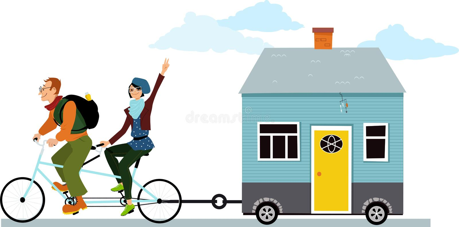Tiny house owners vector illustration