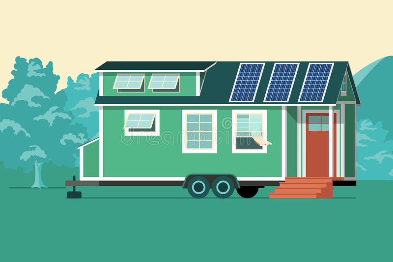 Tiny house with solar panels on the roof. stock illustration