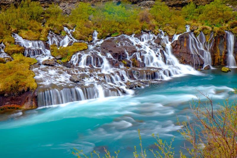 The tiny Hraunfossar falls, Iceland stock photos